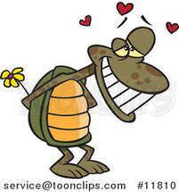 Cartoon Infatuated Tortoise Holding Flowers by Ron Leishman