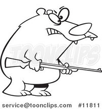 Cartoon Outlined Armed Bear by Ron Leishman