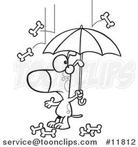 Cartoon Outlined Dog Under an Umbrella in Bone Rain by Ron Leishman