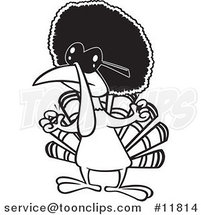 Cartoon Outlined Jive Turkey Bird with an Afro by Ron Leishman