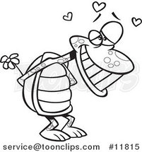 Cartoon Outlined Infatuated Tortoise Holding Flowers by Ron Leishman