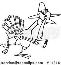 Cartoon Outlined Turkey Pilgrim Hunting by Ron Leishman