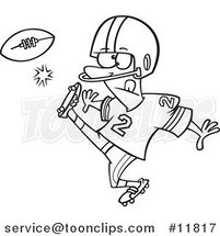 Cartoon Outlined Football Player Kicking by Ron Leishman