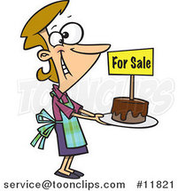 Cartoon Pleased Bake Sale Lady Holding out a Cake by Ron Leishman