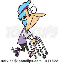 Cartoon Healthy Granny Exercising with Her Walker by Ron Leishman