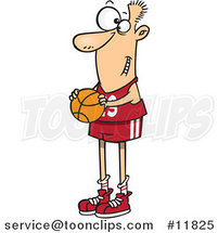 Cartoon Skinny Basketball Player Holding a Ball by Ron Leishman