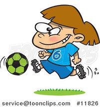 Cartoon Soccer Girl Running by Ron Leishman