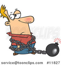 Cartoon Guy in a Predicament Chained to a Bomb by Ron Leishman