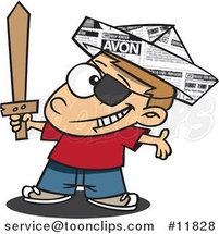 Cartoon Pirate Boy with a Newspaper Hat and Sword by Ron Leishman