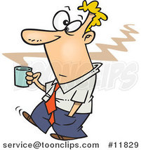 Cartoon Business Man Carrying Hot Coffee by Ron Leishman