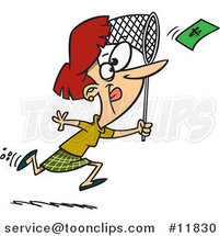 Cartoon Business Woman Chasing Money with a Net by Ron Leishman