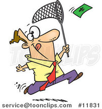 Cartoon Business Man Chasing Money with a Net by Ron Leishman