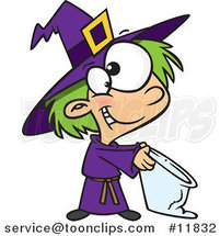 Cartoon Halloween Witch Girl Trick or Treating by Ron Leishman