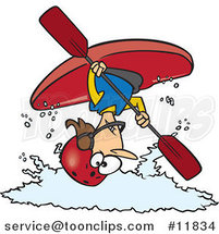 Cartoon Female Kayaker Doing a Flip over White Water by Ron Leishman