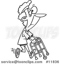 Cartoon Outlined Healthy Granny Exercising with Her Walker by Ron Leishman