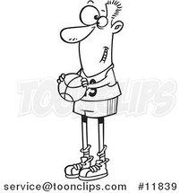 Cartoon Outlined Skinny Basketball Player Holding a Ball by Ron Leishman