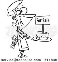 Cartoon Outlined Bake Sale Lady Holding out a Cake by Ron Leishman