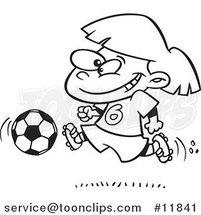 Cartoon Outlined Soccer Girl Running by Ron Leishman
