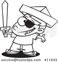 Cartoon Outlined Pirate Boy with a Newspaper Hat and Sword by Ron Leishman