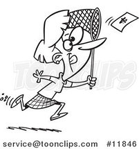 Cartoon Outlined Business Woman Chasing Money with a Net by Ron Leishman