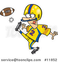 Cartoon Football Player Kicking by Ron Leishman