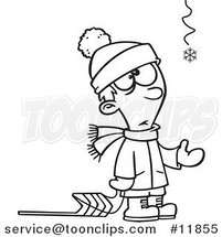 Cartoon Outlined Hopeful Boy with a Sled and One Snowflake by Ron Leishman