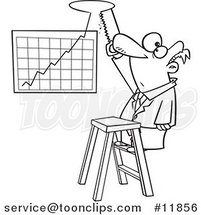 Cartoon Outlined Business Man Cutting a Hole in the Ceiling for His Profit Chart by Ron Leishman