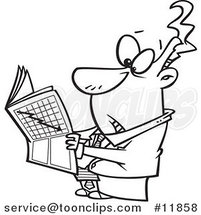 Cartoon Outlined Business Man Reading the Stock Market News by Ron Leishman