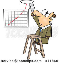 Cartoon Business Man Sawing a Hole in the Ceiling for His Profit Chart by Toonaday