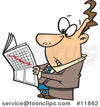 Cartoon Business Man Reading the Stock Market News by Toonaday