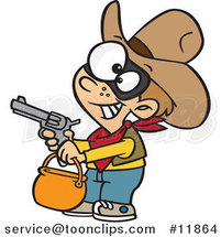 Cartoon Cowboy Halloween Trick or Treater Holding His Gun out by Ron Leishman
