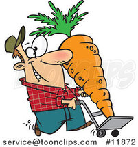 Cartoon Farmer with a Big Carrot on a Dolly by Ron Leishman
