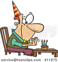 Cartoon Birthday Guy Seated Before His Cupcake by Ron Leishman