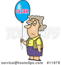 Cartoon Birthday Lady with an Older Balloon by Ron Leishman