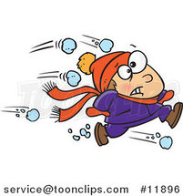 Cartoon Outnumbered Boy Running from Snowballs by Toonaday
