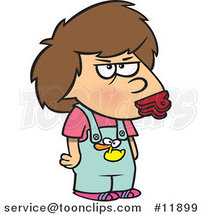 Cartoon Potty Mouth Girl with a Clip over Her Lips by Ron Leishman