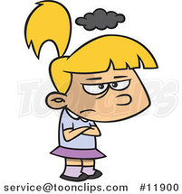 Cartoon Grumpy Girl with a Cloud over Her Head by Ron Leishman