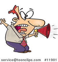 Cartoon Business Man Shouting in a Megaphone by Ron Leishman