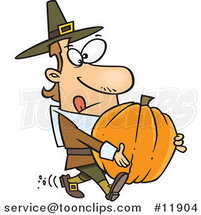 Cartoon Pilgrim Guy Carrying a Pumpkin by Ron Leishman