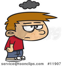 Cartoon Grumpy Boy Under a Cloud of Gloom by Ron Leishman