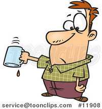 Cartoon Business Man Turning out His Last Drop of Coffee by Toonaday