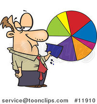 Cartoon Business Man Eating a Pie Chart by Ron Leishman