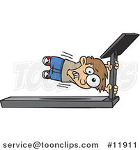 Cartoon Boy Holding onto a Treadmill Bar by Ron Leishman