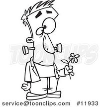 Cartoon Outlined Sad Frankenstein Holding a Flower by Ron Leishman