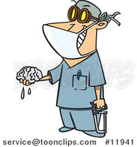 Cartoon Surgeon Holding a Saw and Brain by Ron Leishman