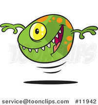 Cartoon Green Bouncing Monster Ball by Ron Leishman