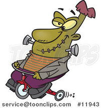 Cartoon Frankenstein on a Trike by Ron Leishman