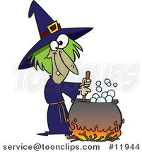 Cartoon Warted Green Witch Stirring Her Potion by Ron Leishman