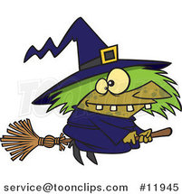Cartoon Warted Green Witch on Her Broomstick by Ron Leishman