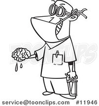 Cartoon Outlined Surgeon Holding a Brain out by Ron Leishman
